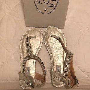 Steve Madden Silver Beaded Sandals